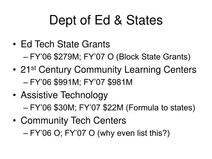 Dept of Ed & States