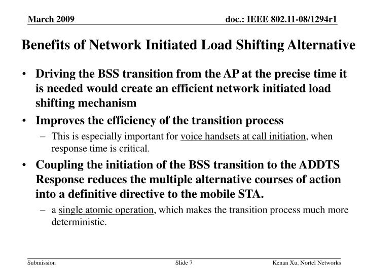 Benefits of Network Initiated Load Shifting Alternative