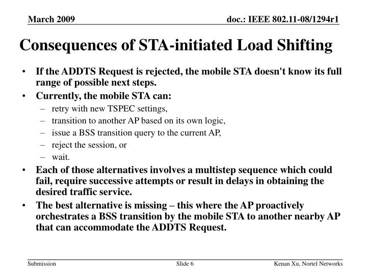 Consequences of STA-initiated Load Shifting