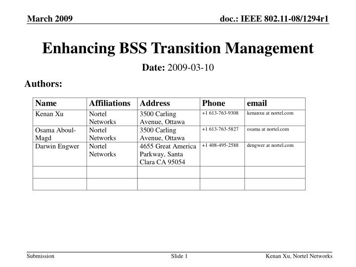 Enhancing bss transition management