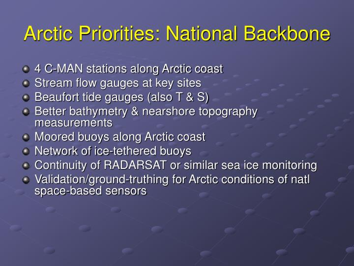 Arctic Priorities: National Backbone