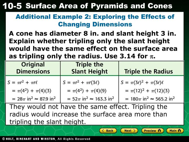 Additional Example 2: Exploring the Effects of Changing Dimensions