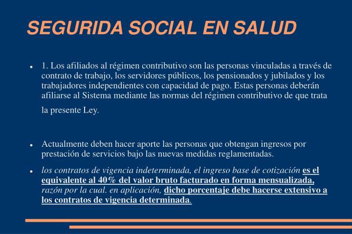 SEGURIDA SOCIAL EN SALUD