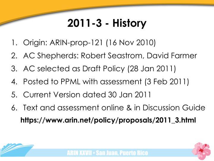 2011-3 - History