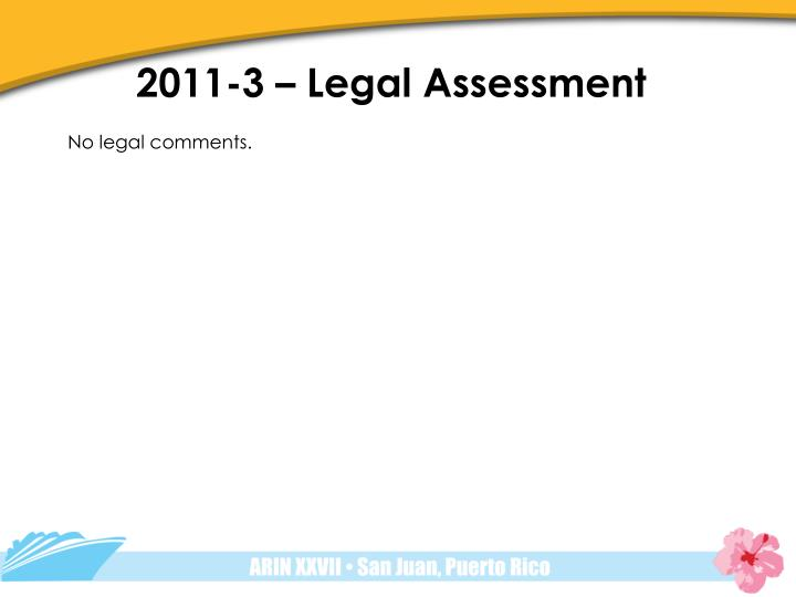 2011-3 – Legal Assessment