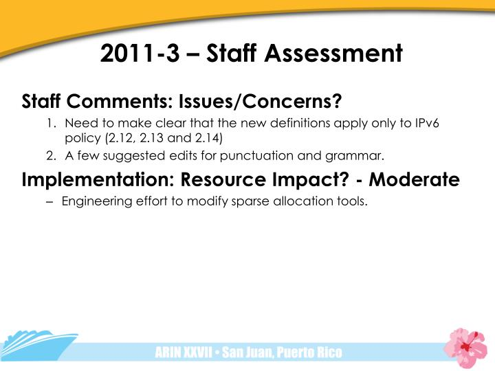 2011-3 – Staff Assessment