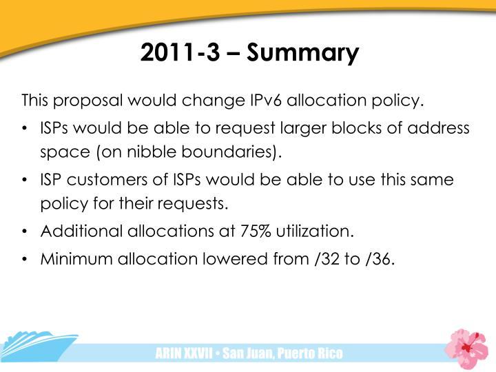2011-3 – Summary