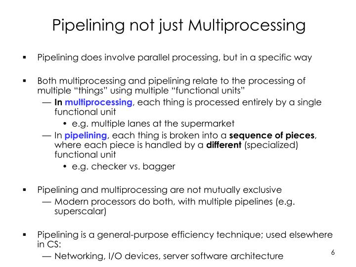 Pipelining not just Multiprocessing