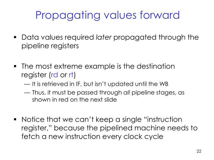 Propagating values forward