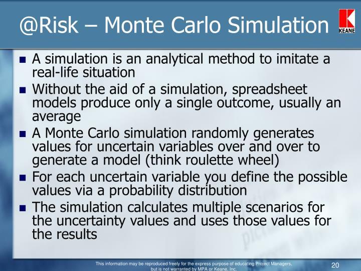 @Risk – Monte Carlo Simulation