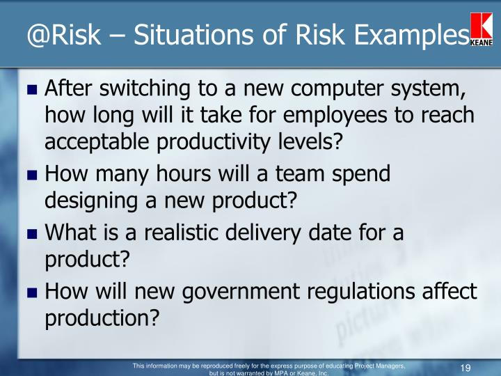 @Risk – Situations of Risk Examples