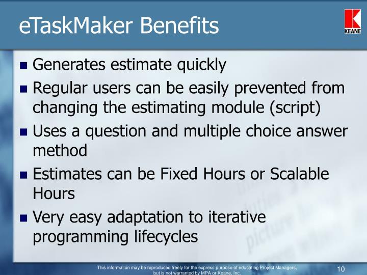 eTaskMaker Benefits