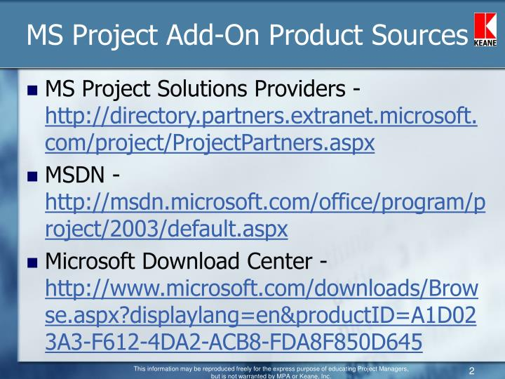 MS Project Add-On Product Sources
