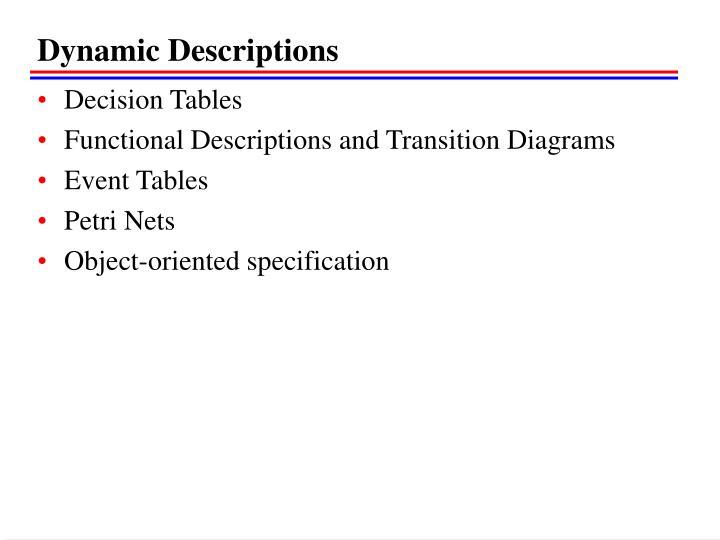 Dynamic Descriptions