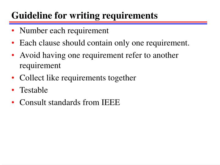 Guideline for writing requirements
