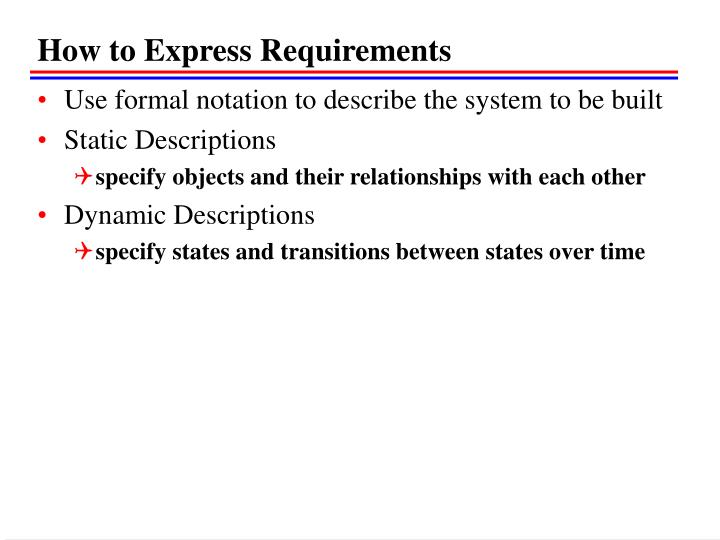 How to Express Requirements