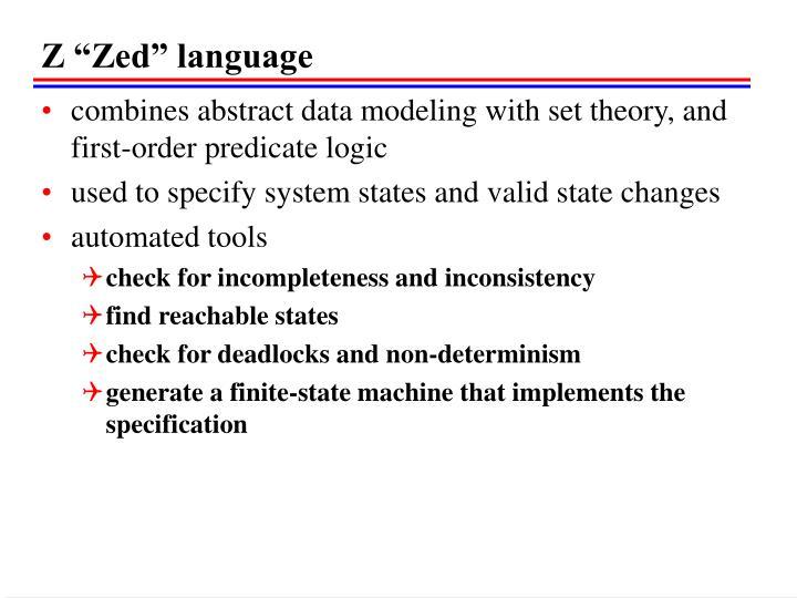 """Z """"Zed"""" language"""