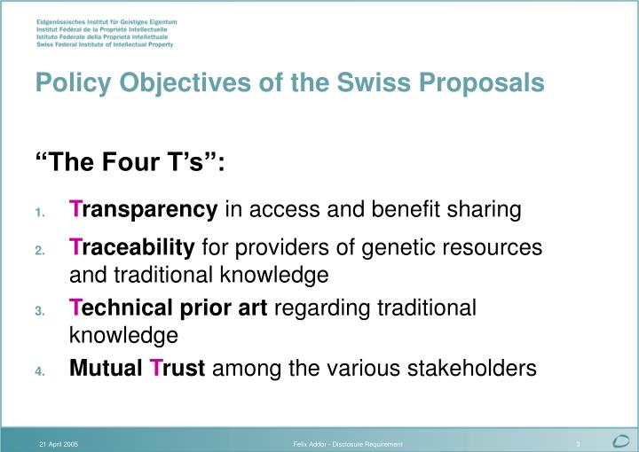 Policy objectives of the swiss proposals