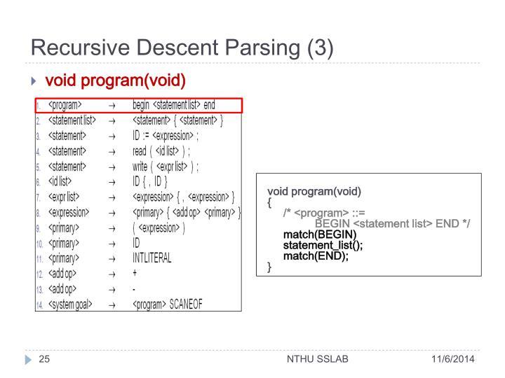 Recursive Descent Parsing (3)