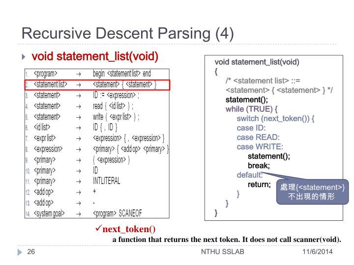 Recursive Descent Parsing (4)