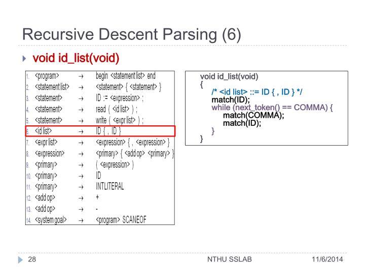 Recursive Descent Parsing (6)