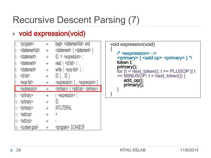 Recursive Descent Parsing (7)