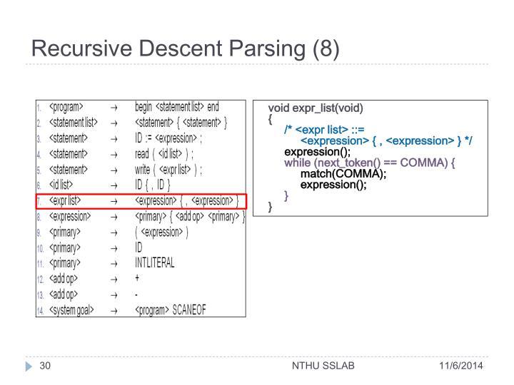 Recursive Descent Parsing (8)