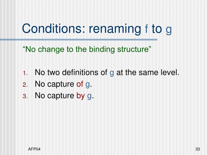 Conditions: renaming