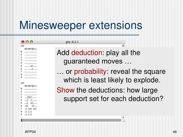 Minesweeper extensions