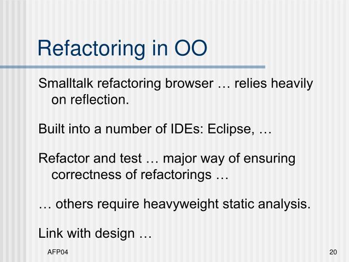 Refactoring in OO