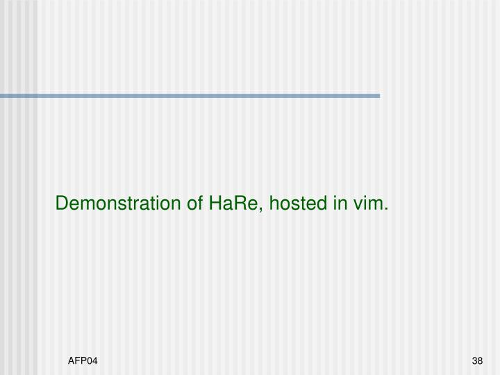 Demonstration of HaRe, hosted in vim.