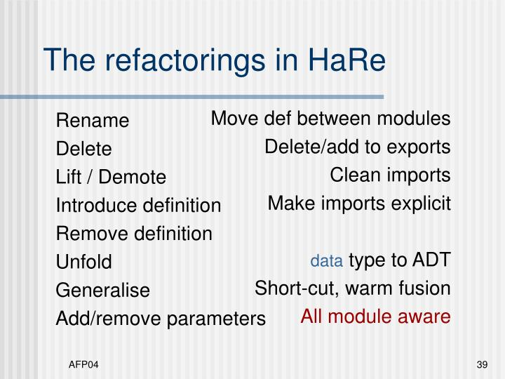 The refactorings in HaRe