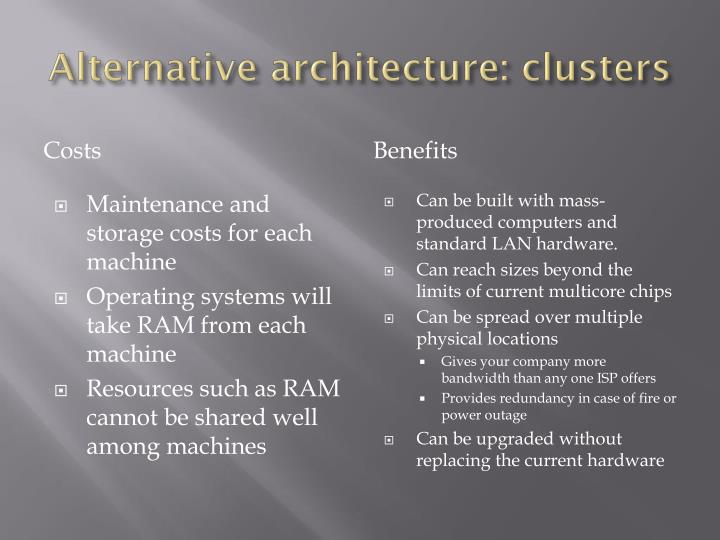 Alternative architecture: clusters