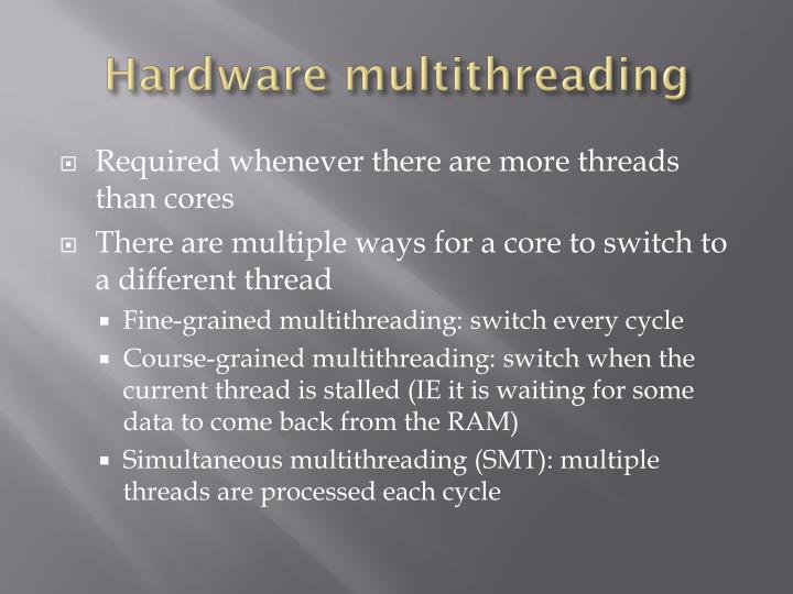 Hardware multithreading
