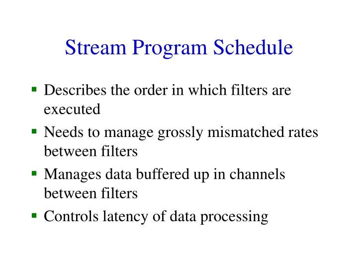 Stream Program Schedule