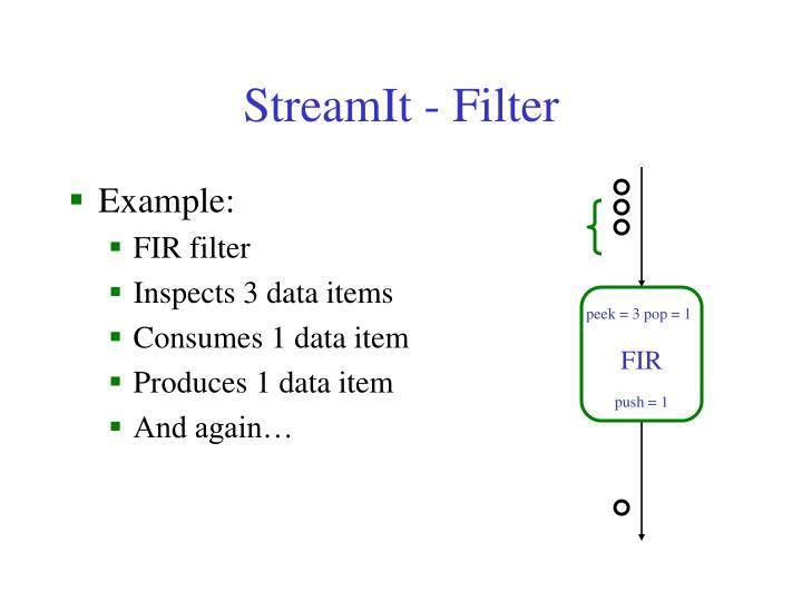 StreamIt - Filter