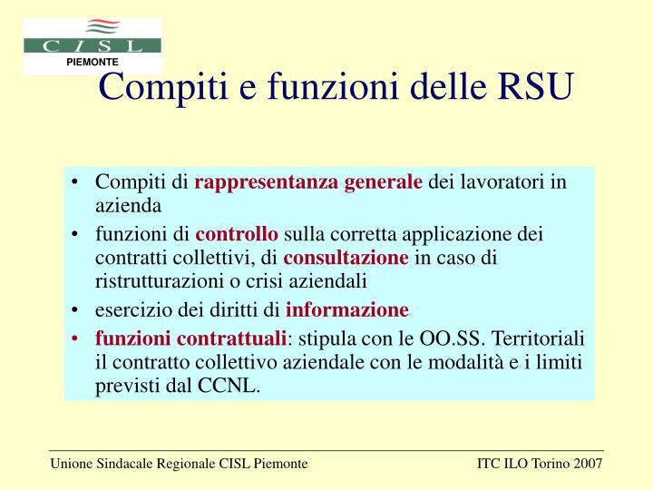 Compiti e funzioni delle RSU