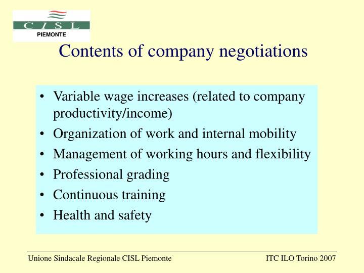Contents of company negotiations