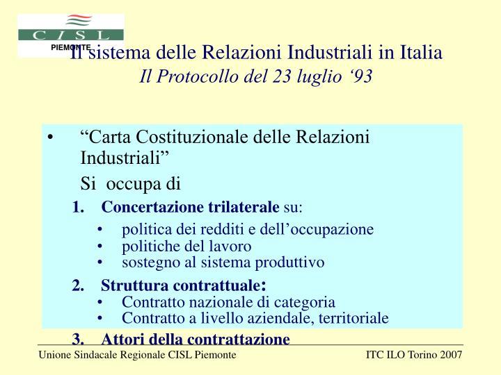 Il sistema delle Relazioni Industriali in Italia