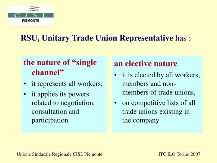 RSU, Unitary Trade Union Representative