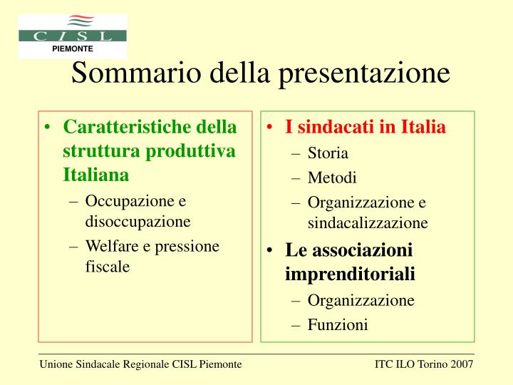 Caratteristiche della struttura produttiva Italiana
