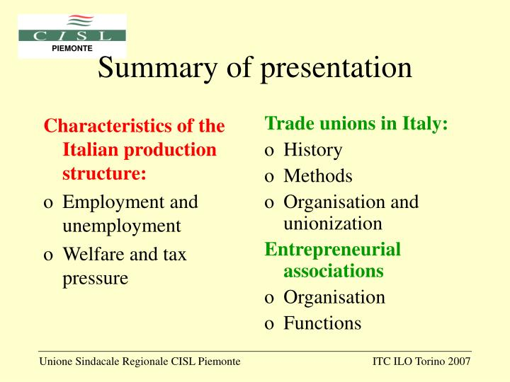 Characteristics of the Italian production structure: