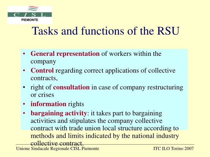 Tasks and functions of the RSU