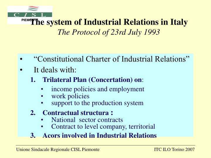 The system of Industrial Relations in Italy