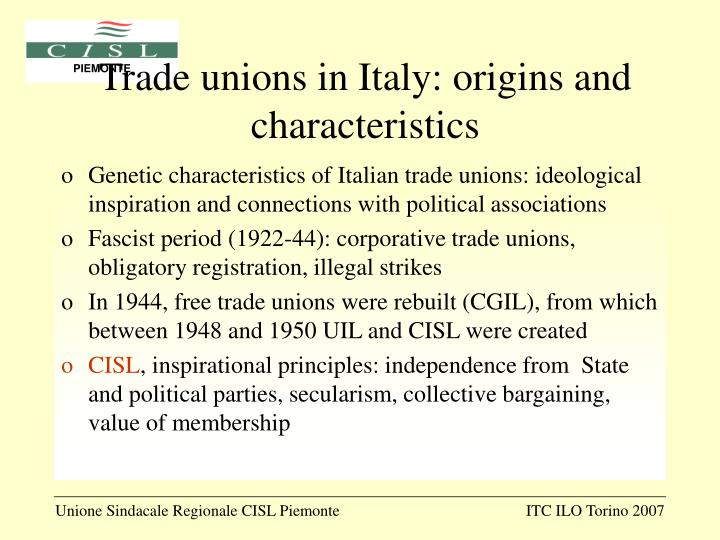 Trade unions in Italy: origins and characteristics