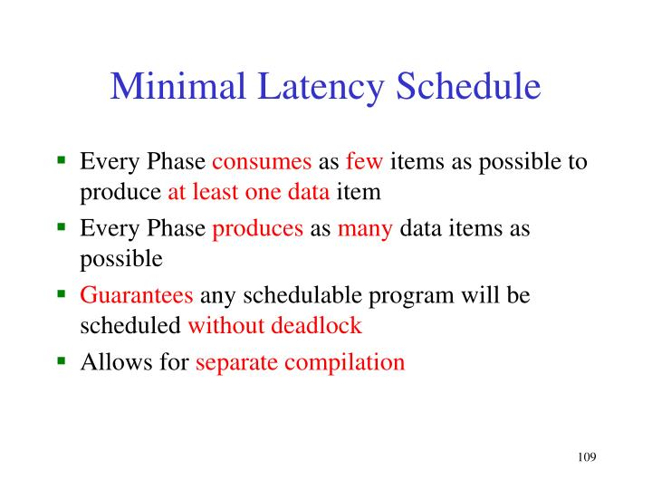 Minimal Latency Schedule