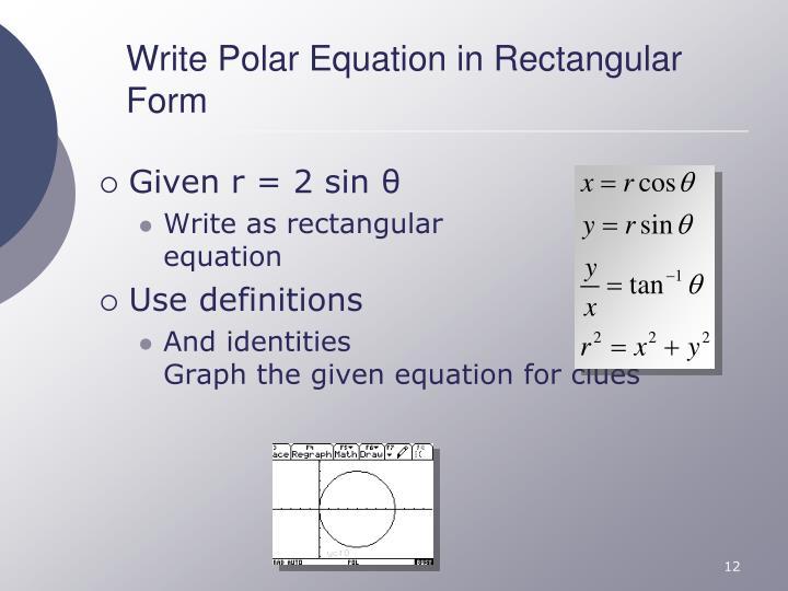 Write Polar Equation in Rectangular Form