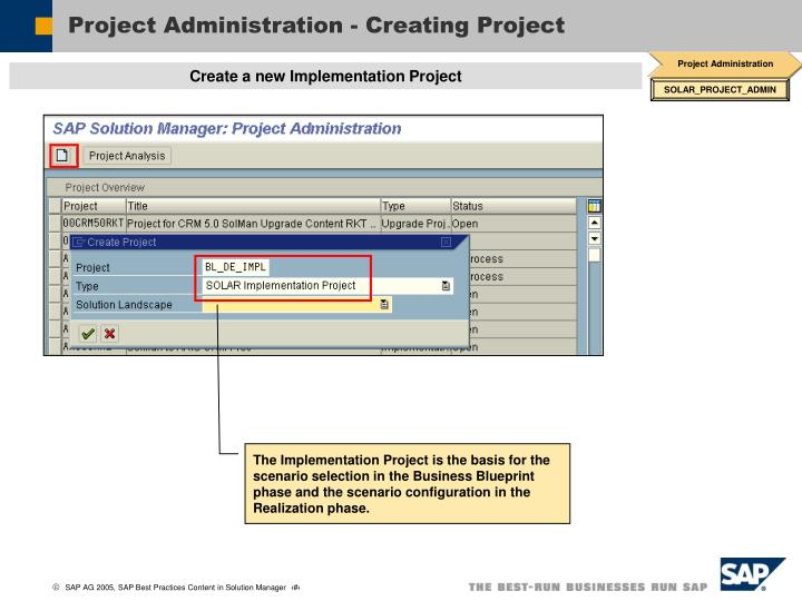 Project Administration - Creating Project