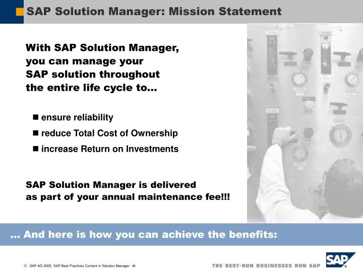 SAP Solution Manager: Mission Statement