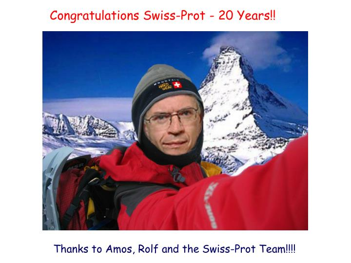 Congratulations Swiss-Prot - 20 Years!!